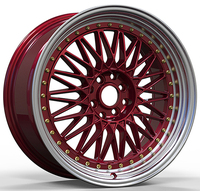 multi sizes red face car wheels multi spoke auto alloy rims with 8/10 holes