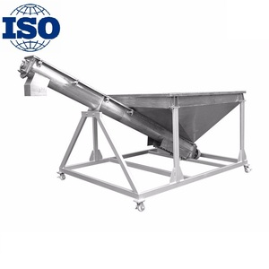 factory price 85-162 cbm/hour inclined screw conveyor with feeding hopper for grain and powder