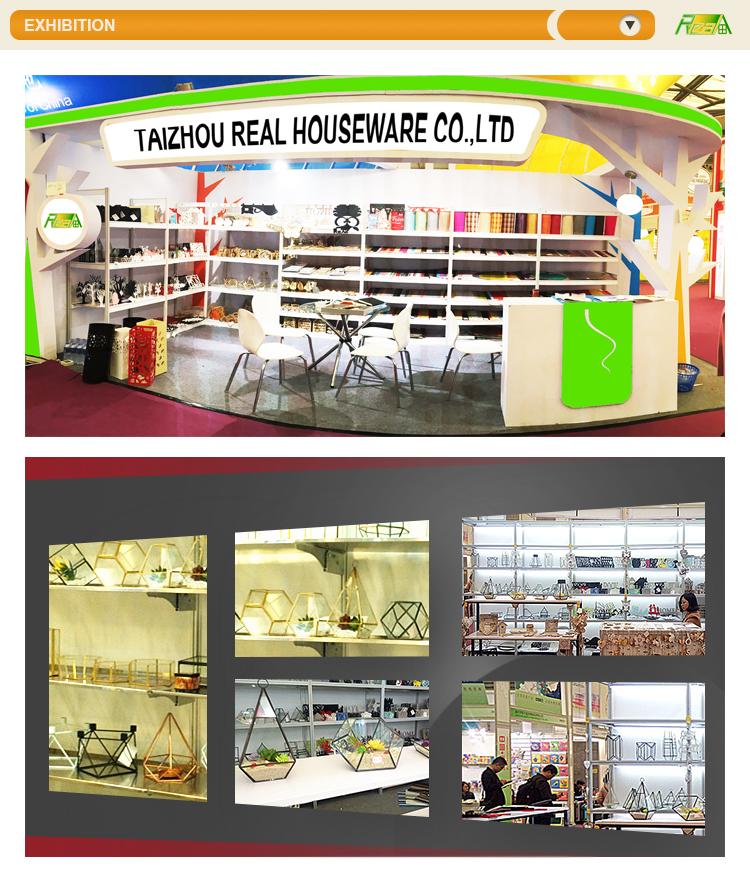 Groothandel glas met koperen frame goud kleur kleine vierkante vorm glas terrarium geometrische box