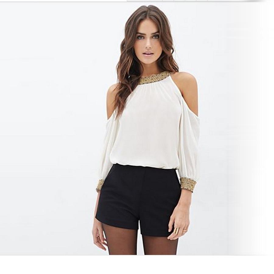 90b9b692da6 Blusa Feminina 2015 Summer Fashion Elegant Hot Shirts Long Sleeve Women  Blouses White Women s Tops