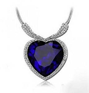 AOBILE(TM) Birthstone Jewelry Blue Crystal Pendant Large Elegant Sapphire white Gold Plated Heart Shape Necklace