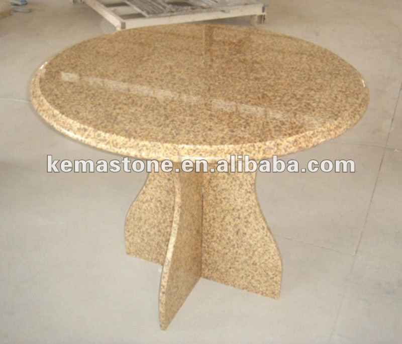 Mum Yellow Granite Top Dining Round Table