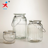 hanging clear striped glass candle lamp lanterns