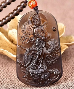 Wholesale Natural hand carved Ice of obsidian Guanyin dragon pendant for To ward off bad luck