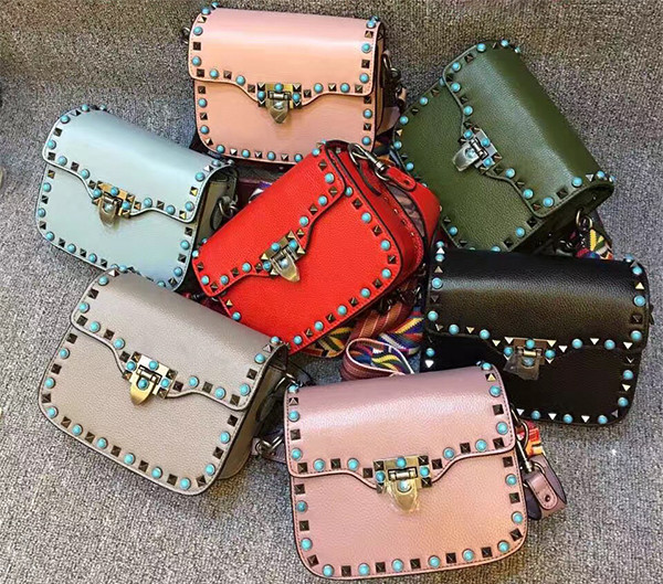 d5dfbc2064b Wide Colorful Strap Fashion Genuine Leather Studded Cross Body Bag  Guangzhou Handbag