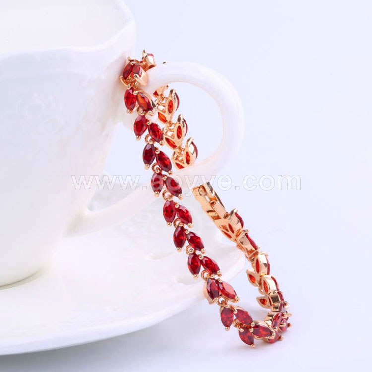 Hot selling quality fashion crystal wicker leaf hot willow vine shape bling rainbow color chain bracelet