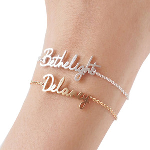 Bridesmaid Jewelry Personalized Name Engraved Ladies Customized Family Name Bracelet