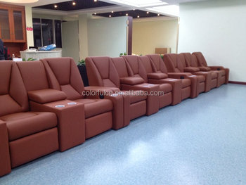 2015 Import Genuine Leather Recliner Sofa Set LS805 With Cold Cup Holder  And LED Light Seat