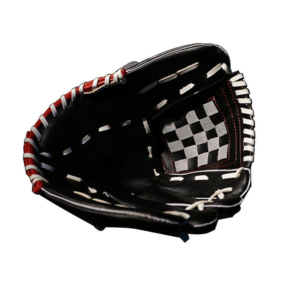 "Kiwivalley Baseball Grove,Right Hand Throw Baseball Grove for Kids S(10.5""),Teens M(11.5""),Adults L(12.5"") (Black with Red, L)"