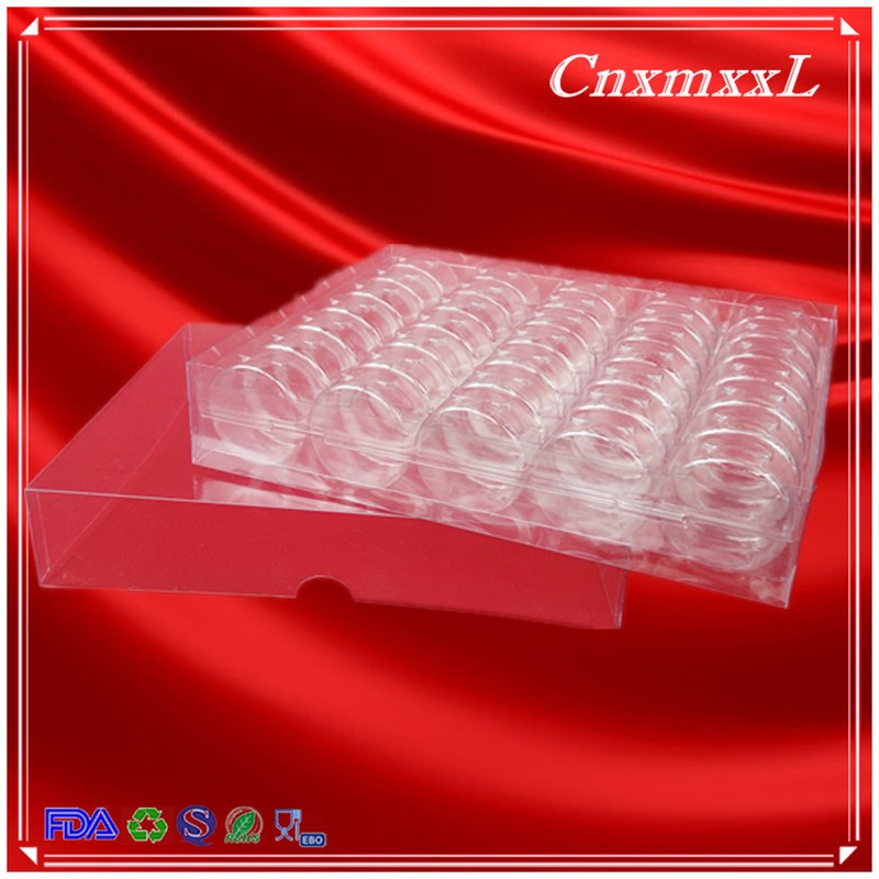 35 pcs Plastic shaped box with clear lid and base boxes blister tray for packaging display made in China