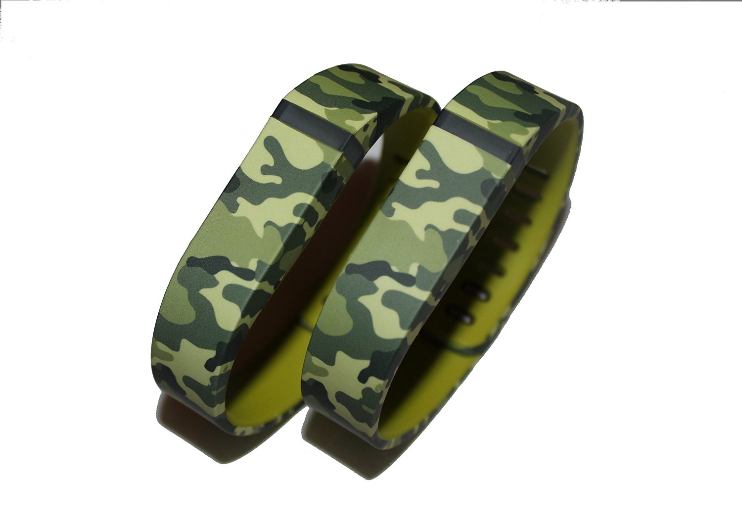 SUPTG Large 2pcs Camo Camouflage Army Wrist Bands For Fitbit Flex Bracelet (With Clasp , No Tracker) Replacement Bands Wireless Fitness Accessories Tracking Exercise Sport Activity