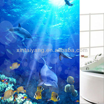 Blue Dolphin Design PEVA Plastic Waterproof Shower Curtainwalmart Bathroom Curtain