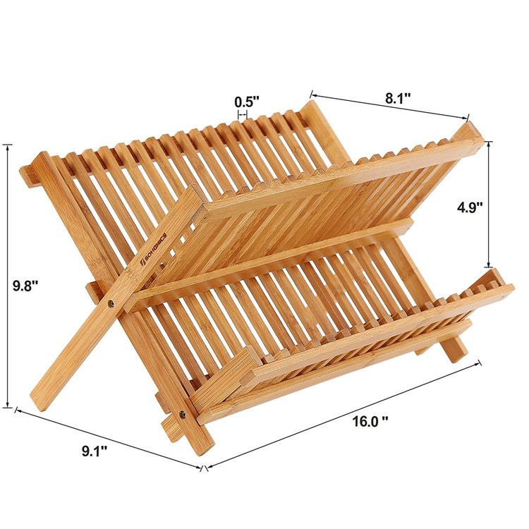 Factory Supply Wood Bamboo Collapsible Dish Rack Wholesale 9