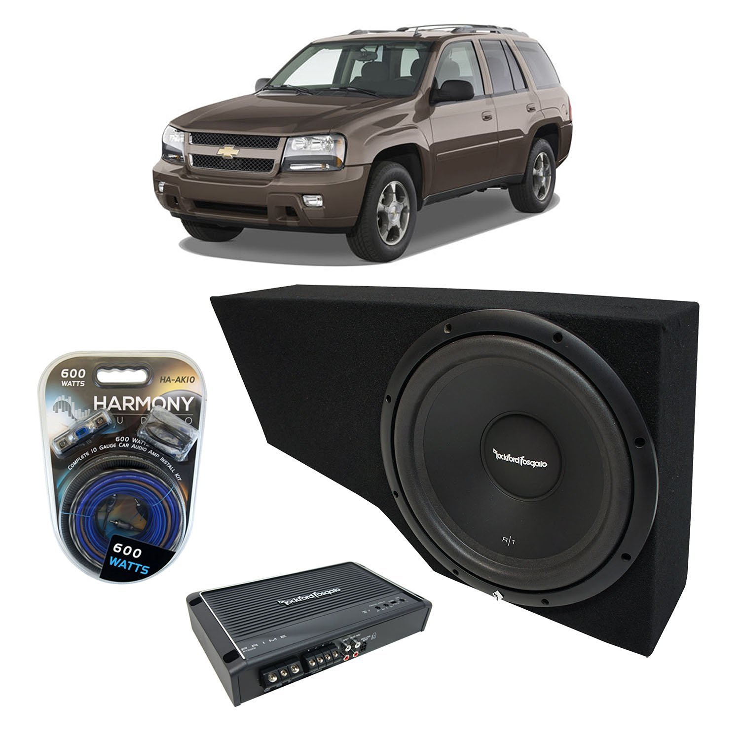"2002-2009 Chevy Trailblazer Rockford Prime R1S412 Single 12"" Custom Sub Box Enclosure & R150X2 Amp"