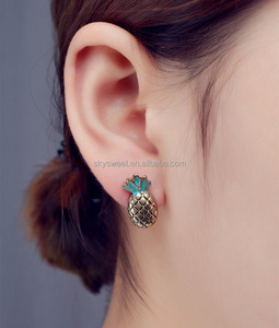 fancy pineapple design gold earring,cute girls fruit vegetable earring jewelry