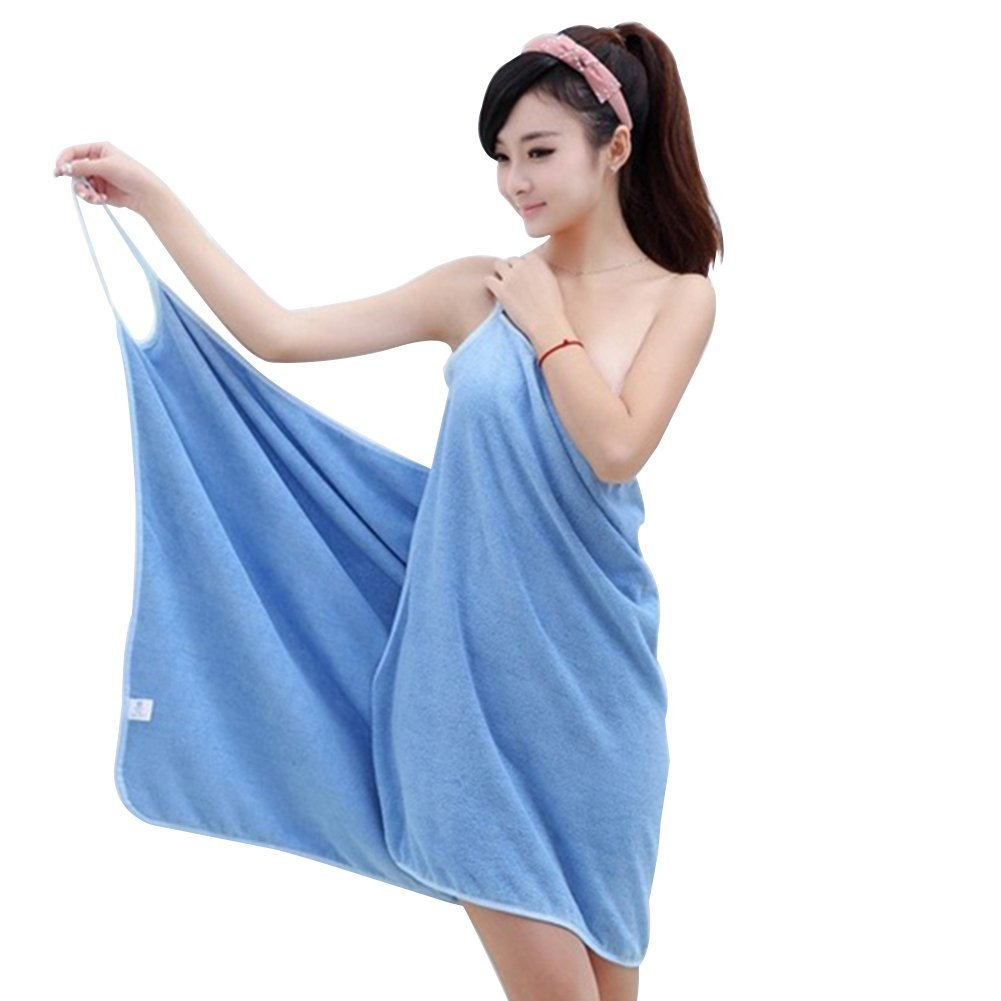 3f500a0332 Get Quotations · Potato001 Wearable Bath Towel Fast Drying Soft Microfiber  Bath Towel Bathrobe Bath Skirt (Blue)