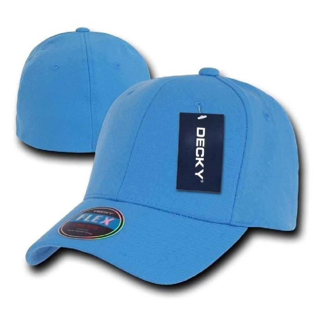cec3991e94728 Get Quotations · Sky Blue Plain Solid Blank Flex Baseball Fit Fitted Ball  Cap Caps Hat Hats OSFA