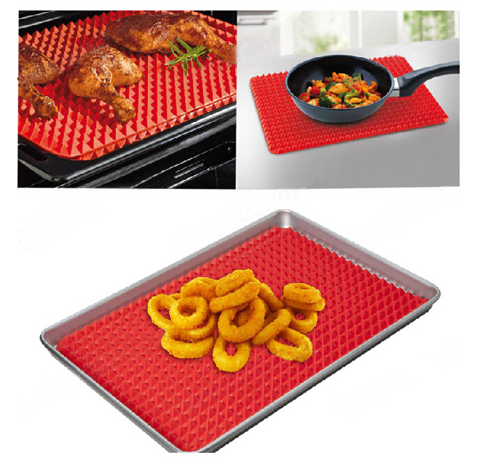 41*28.5cm FDA food grade red pyramid pan nonstick silicone baking mat mould sheets liner mat for oven and microwave