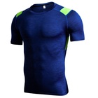 No brand compression men gym Tshirts quick dry gym tops keeping cool yoga wear with mesh fabric