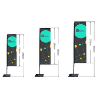 Cheap price custom logo aluminum advertising stand square flag banners pole with base