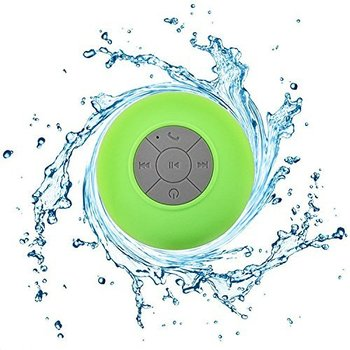 Bath Pool Car Beach Indoor Outdoor Use Wireless Portable Audio Built-in Control Buttons Green Speakerphone Powerful Suction Cup