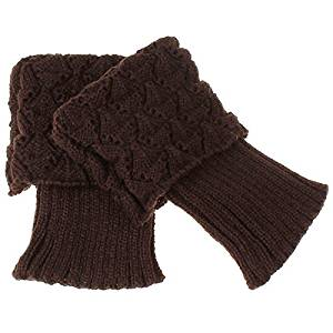 Socks - SODIAL(R)Women Crochet Knitted Trim Boot Cuffs Toppers Liner Leg Warmer Socks Color:Coffee