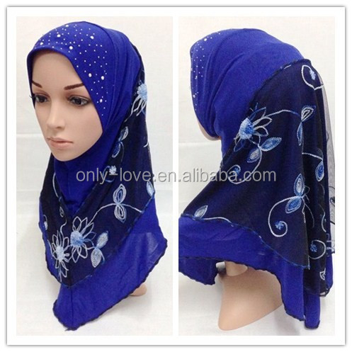 2016 latest style embroidery Muslim hijab and islamic scarf MRGT009