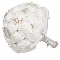 Jewelry Bridal Bouquet Holding Flowers Luxury White Artificial Silk Rose Wedding Flowers Bridal Bouquets for Wedding Decoration