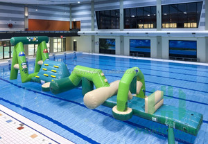 Cute hippo and octopus inflatable water obstacle course, jump and run pool float giant inflatable obstacle