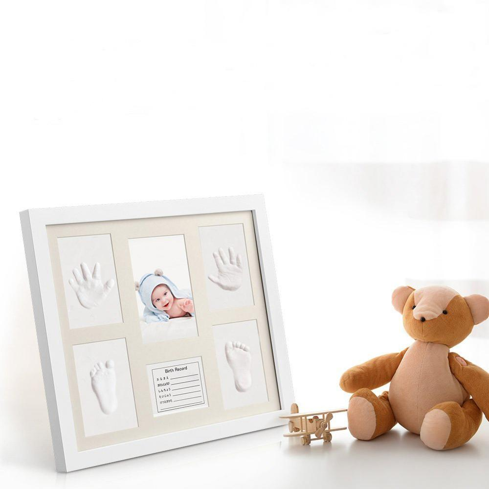 Baby handprint and footprint clay kit photo frame for newborn girls and boys, baby picture frame
