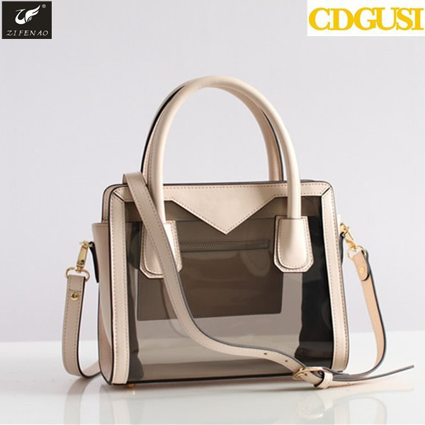 b9e89467d3fb Golden Supplier Fashion Causal Clear Transparent Handbags Tote Womens Purse  Ladies Clear PVC Summer Bags with Customer Logo