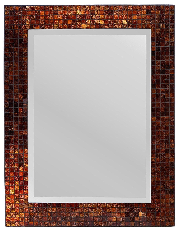 "Lulu Decor, Amber Rectangle Mosaic Wall Mirror, Decorative Handmade 31"" x 23.5"", Bevel Mirror 22.50"" x 16"" Perfect for Housewarming Gift. (LP307)"
