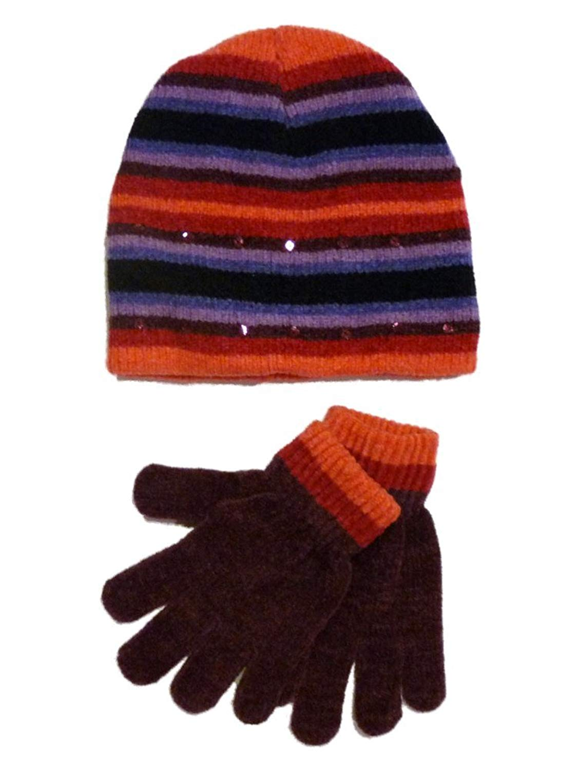 f2791a2e12a Get Quotations · Faded Glory Girls Pink   Purple Stripes Sequin Hat   Gloves  Beanie Set