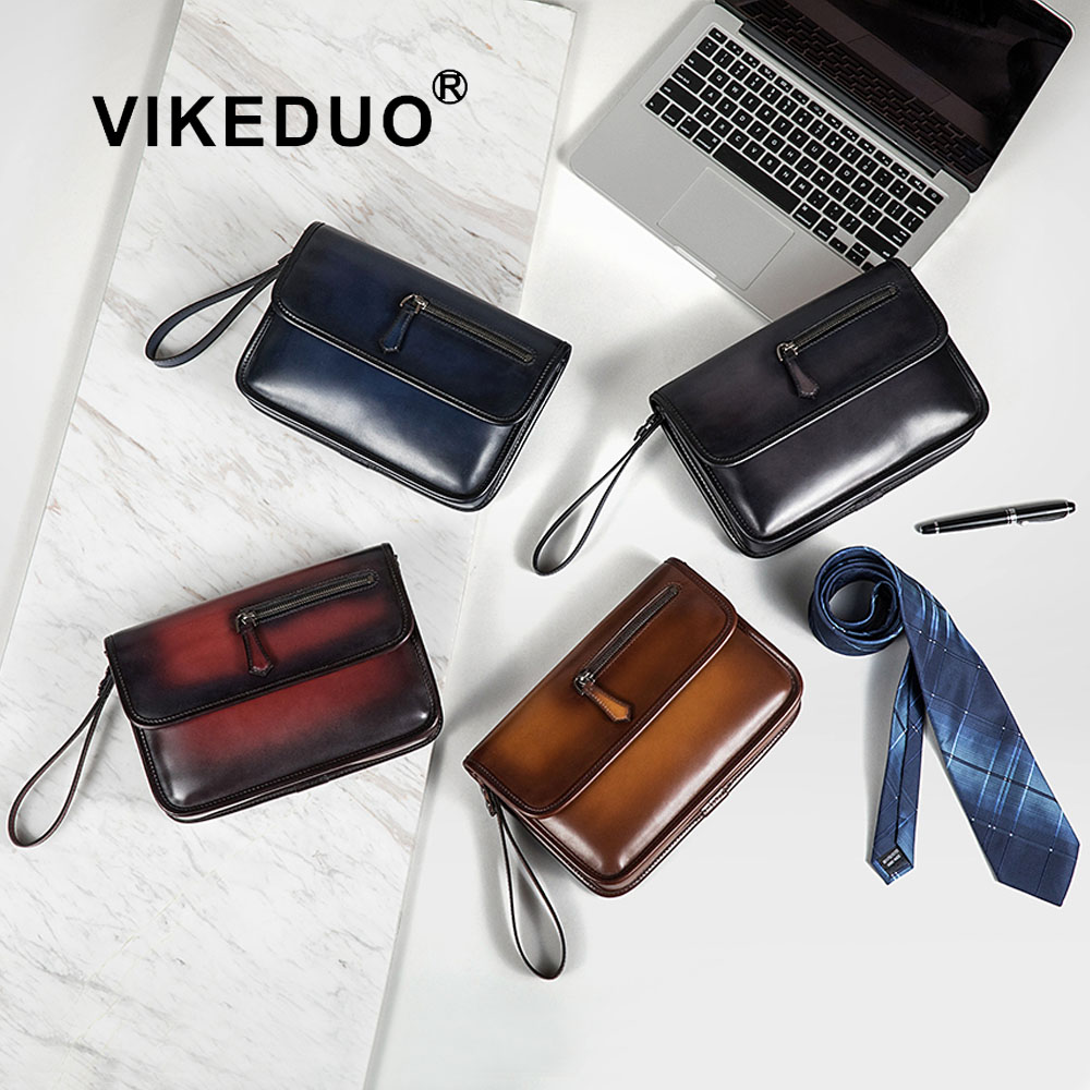 VIKEDUO Handmade Mens Fashion Accessory Popular Bags Style Designer Wholesale <strong>Leather</strong> Custom Wristlet <strong>Clutch</strong> For Men