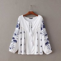 Z61500Y european fashion women casual embroidery blouses lady fashion tops