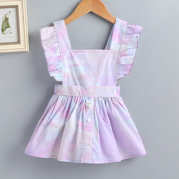 2019 cheap wholesale factory square collar baby girl clothes clothing dress in hot-selling