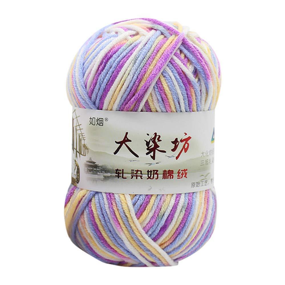 Sacow Medium Wool Yarn, Colorful Hand Knitting Baby Milk Cotton Crochet Knitwear Wool Yarn,50g (K)