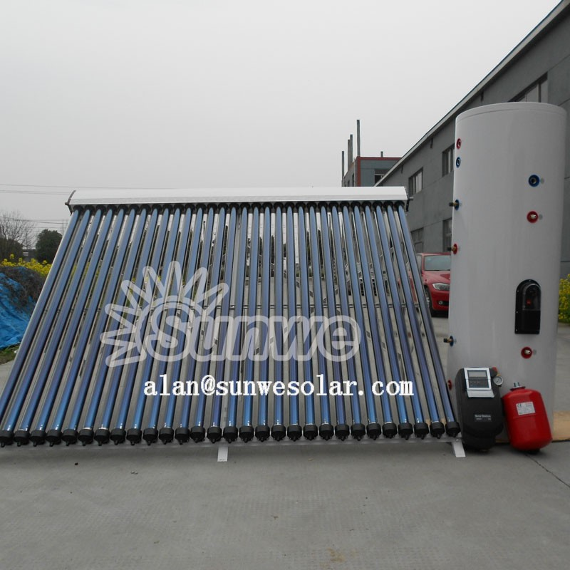 Separate Pressurized Solar Water Heater Haining Sunwe Heat Pipe Solar Collector Pressurized Solar Tank Pump Station Controller
