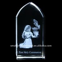 religious gift , the first communion, laser engrave crystal crafts