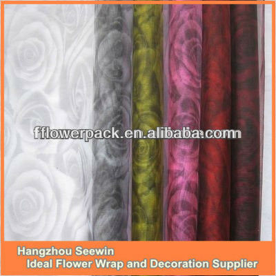 ROSE PATTERN ORGANZA FABRIC FOR FLORAL PACKING, GIFT BAG,TABLECLOTH