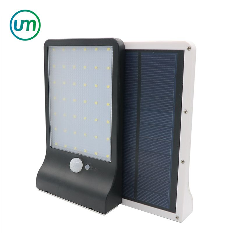 60 LED Solar Street Wall Light PIR Motion Sensor Outdoor Garden Dimmable Lamp UK