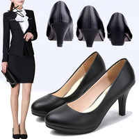 Ladies Official business shoes women black heel wedge heel sandals PU shoes