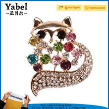 Latest Women Fashion korean Brooch Metal Rhinestone Fox Crystal Brooch