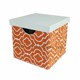 Set3 Printing linen square foldable storage box with leather cover