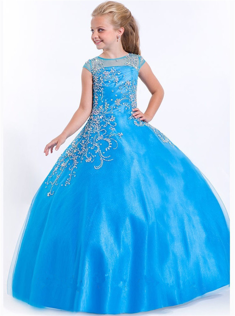 Customized 2015 New Fashion Sexy Ball Gown Cap Sleeve Scoop  Short Taffeta Beading Floor-Length Flower Girl Dresses