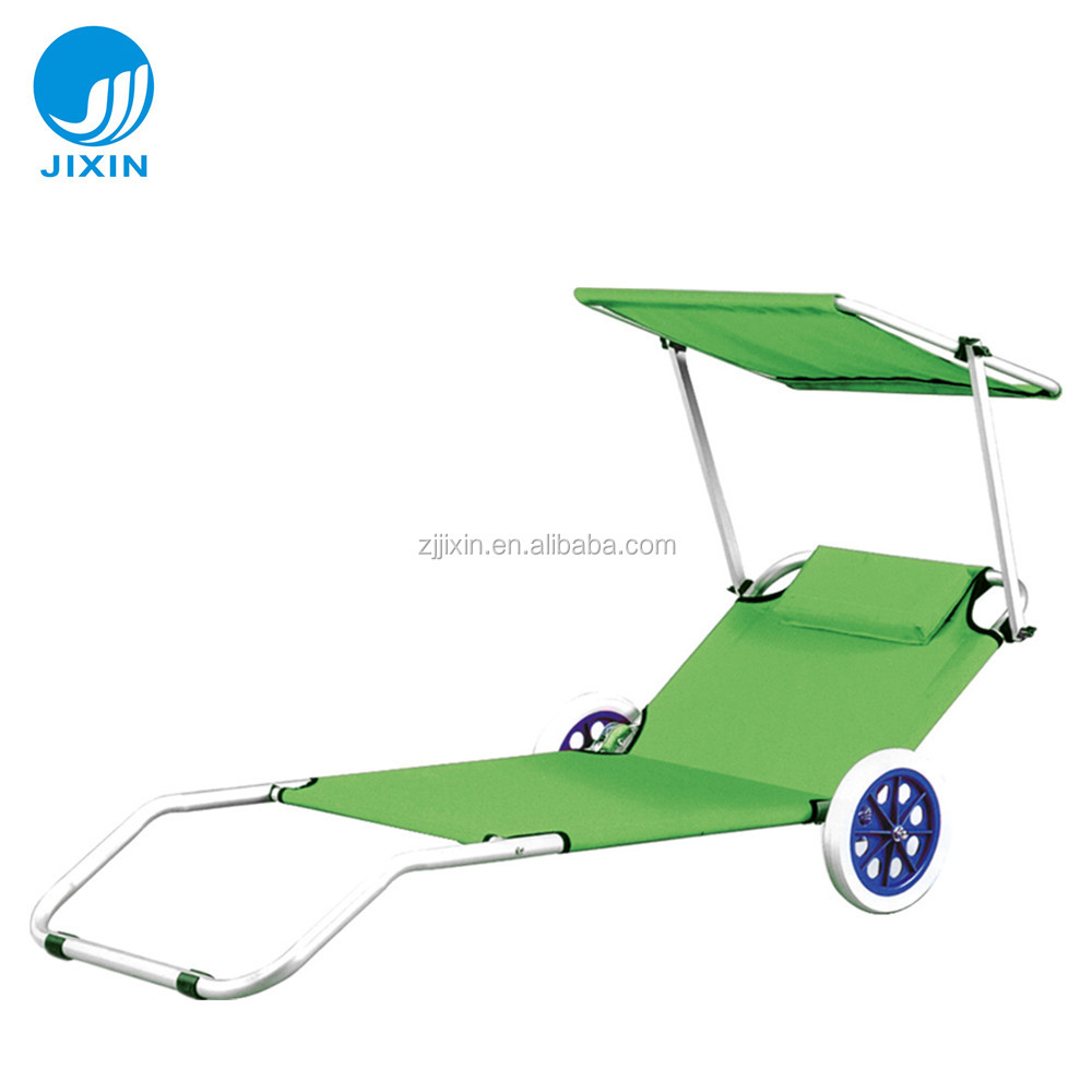 Sunshade Folding Beach Chairs With Wheels Product