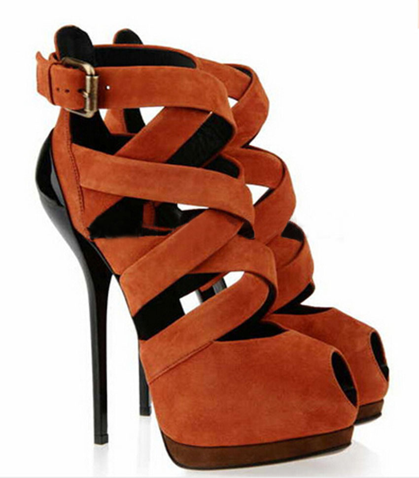 2015 newest brown suede leather peep toe ankle strap bandage sandals woman cut-outs ankle buckle high platform gladiator shoes