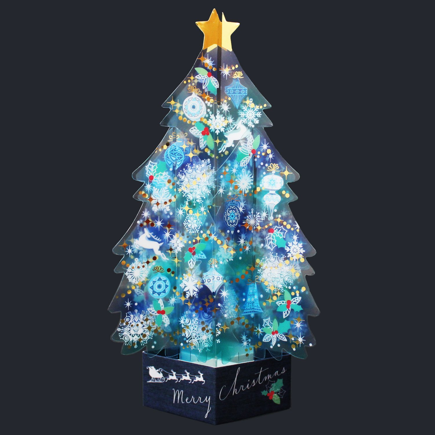 Blue Crystal 3D Christmas Tree Pop Up Greeting Card