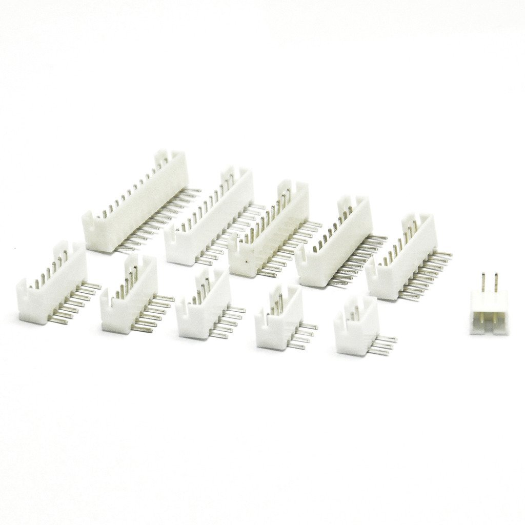 Gikfun Assorted PH 2.0mm 2/3/4/5/6/7/8/9/10/11/12 Pin Right-Angle JST Socket for Arduino (Pack of 55pcs) AE1014