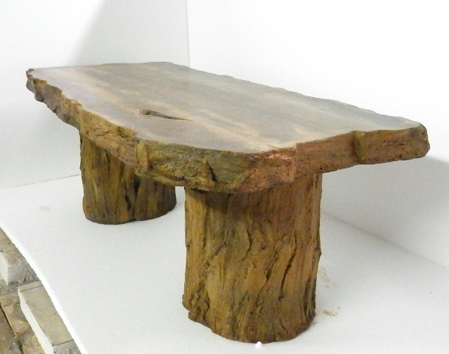 """Handmade Fossilized Bench Concrete Table, CF-302 Petrified Log Bench """"Cast Stone Petrified Wood Table, """"Outdoor Garden Patio Bench"""""""
